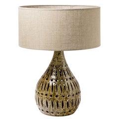 Green and Black Stoneware Ceramic Base Table Lamp Midcentury Light Signed
