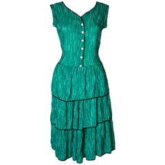 Green and Black Vintage Summer Dress