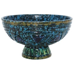 Green and Blue Bitossi Bowl with Yellow Detail, circa 1960