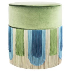 Green and Blue Geometric Couture Deco Pouf