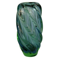 Large Green and Blue Scandinavian Art Glass  Spiral Vase, Circa 1950's