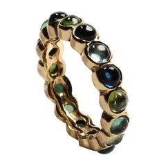 Green and Blue Tourmaline Eternity Band Ring in 14 Karat Yellow Gold