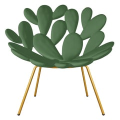 In Stock in Los Angeles, Green and Brass Outdoor Cactus Chair by Marcantonio