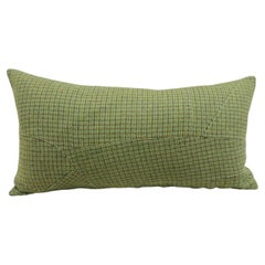 Green and Brown Small Wool Plaid Pattern Decorative Bolster Pillow