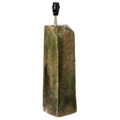 Green and Brown Stoneware Ceramic Table Lamp La Borne Midcentury Light