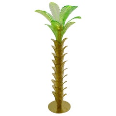 Green and Gold Murano Glass Palm Tree Floor Lamp, Brass Fittings, 1970s