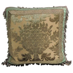 Green and Gold Silk Velvet Decorative Pillow with Tassels