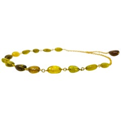 Green and Gold Tourmaline and 18 Karat Beaded and Linked Necklace