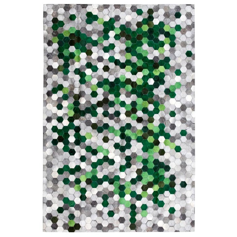 Green and Gray Customizable Angulo Cowhide Area Floor Rug Medium For Sale