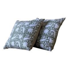 Green and Natural Paisley Block Print Pillow