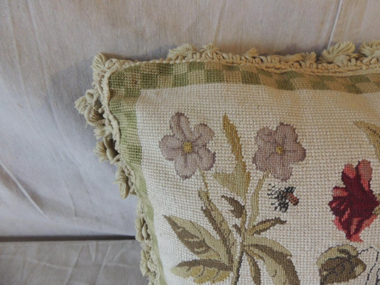 Country Green and Natural Woven Floral Tapestry Decorative Pillow with Tassels For Sale