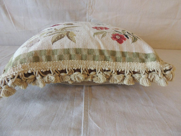 American Green and Natural Woven Floral Tapestry Decorative Pillow with Tassels For Sale