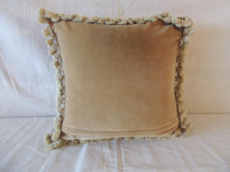 Machine-Made Green and Natural Woven Floral Tapestry Decorative Pillow with Tassels For Sale