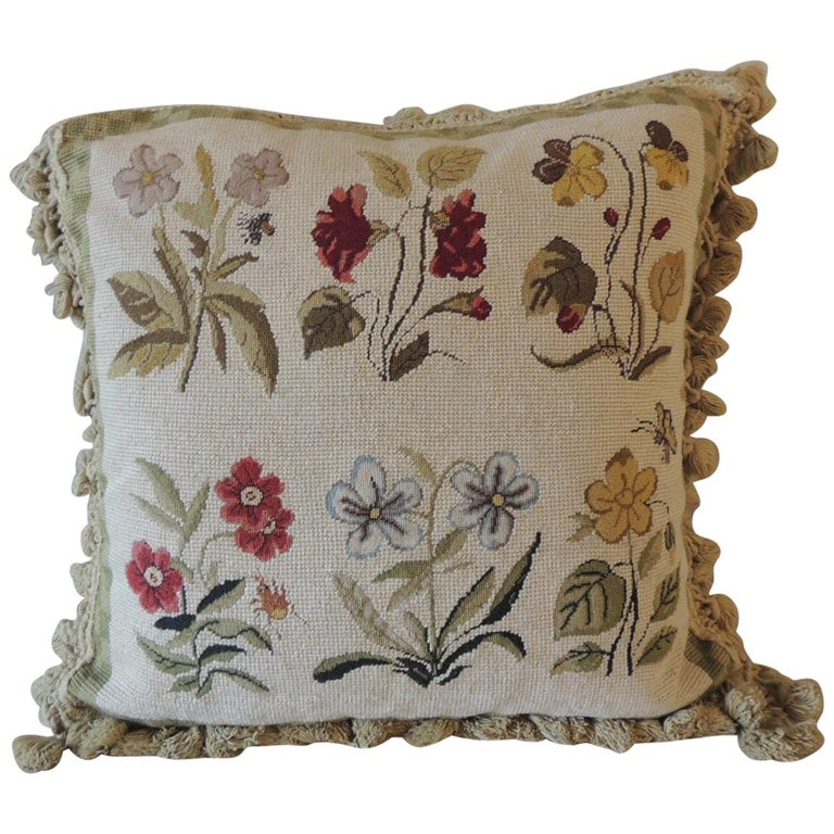 Green and Natural Woven Floral Tapestry Decorative Pillow with Tassels For Sale