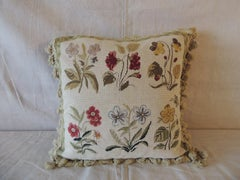 Green and Natural Woven Floral Tapestry Decorative Pillow with Tassels
