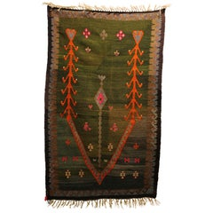 Green and Orange Tribal Print Turkish Kilim