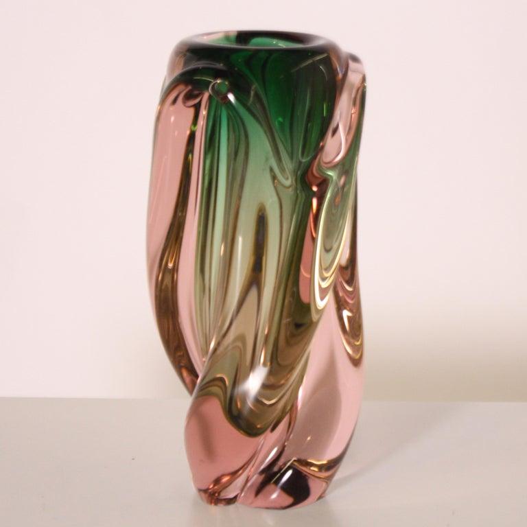 Green and pink Murano glass vase, circa 1950.