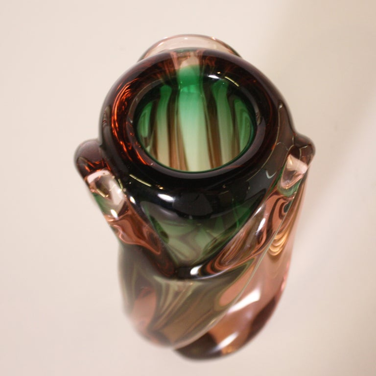 French Green and Pink Murano Glass Vase, circa 1950 For Sale