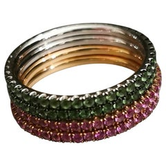 Green Garnet and Pink Sapphire Gold Band Rings