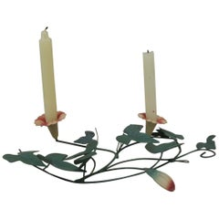 Green and Pink Toleware Candleholder or Wall Decor