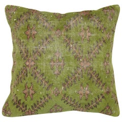 Green and Pink Vintage Turkish Rug Pillow