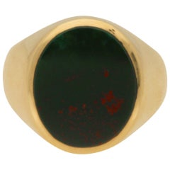 Green and Red Bloodstone Signet Ring Set in 18 Karat Yellow Gold