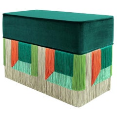 Green and Red Couture Geometric Flo Rectangular Pouf