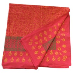 Green and Red Hand-Blocked Indian Coverlet