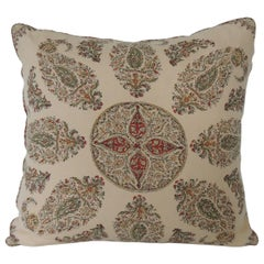 Green and Red Linen Paisley Decorative Square Pillow with Self-Welt