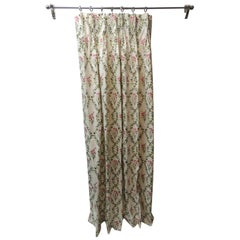Green and Red Trellis Floral Pattern Chintz Drapery Curtain Panel