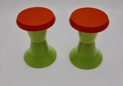 Green and Red Vintage Plastic Stools set of two circa 1970 Italy