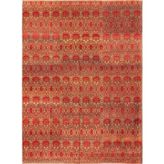 Green and Red Vintage Turkish Tribal Ottoman Rug with Repeating Design