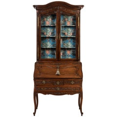 Green and Turquoise Jungle Print Lined Walnut Louis XV Style Bureau Cabinet