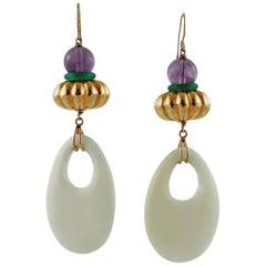 Green and White Agate, Amethyst, 18 Karat Rose Gold Drop Retrò Earrings