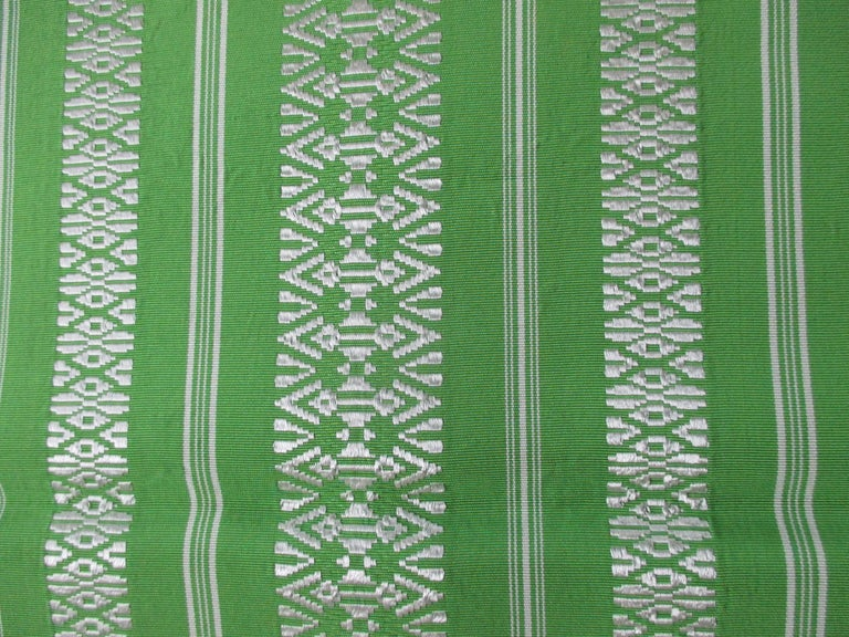 Japonisme Green and White Bands Vintage Obi Sash Textile For Sale