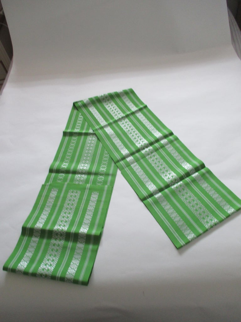 Japanese Green and White Bands Vintage Obi Sash Textile For Sale