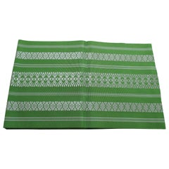 Green and White Bands Vintage Obi Sash Textile