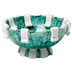 Green and White Ceramic Plate Decoration circa 1950 by Sainte Radegonde Ash