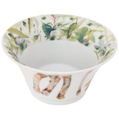 Green and White French Limoges Porcelain Deep Bowl, Exclusive Edition in Stock