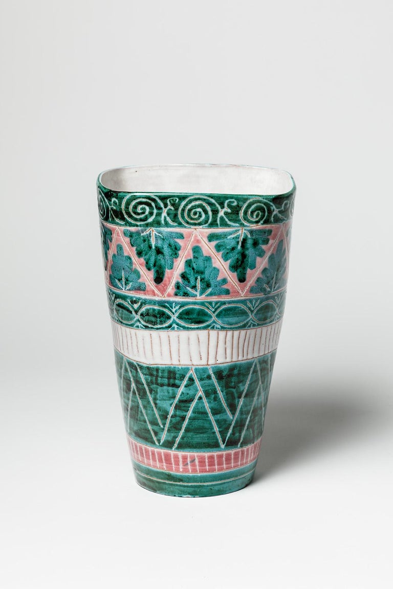 Mid-Century Modern Green and White Mid-Century Design Ceramic Vase by Jean Derval & Picault 1950 For Sale