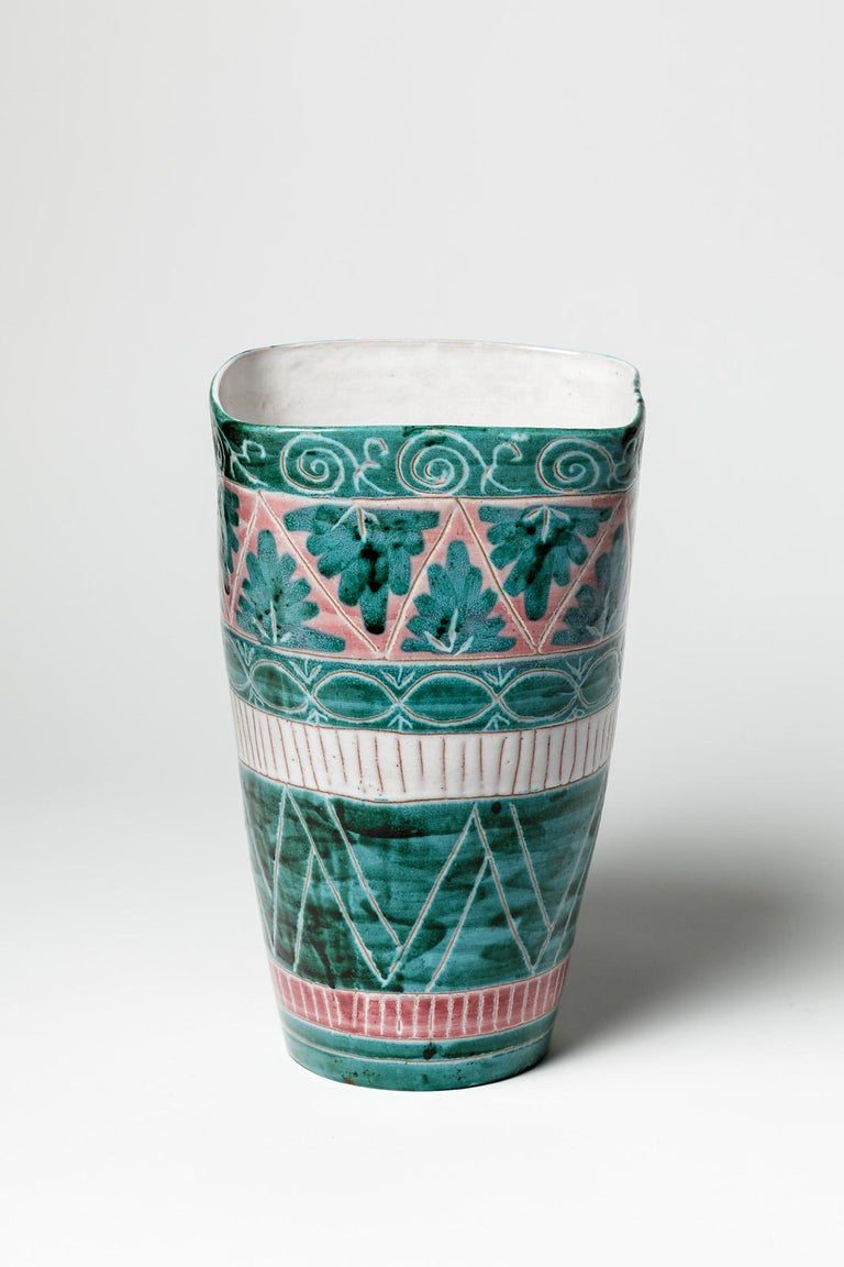 French Green and White Mid-Century Design Ceramic Vase by Jean Derval & Picault 1950 For Sale