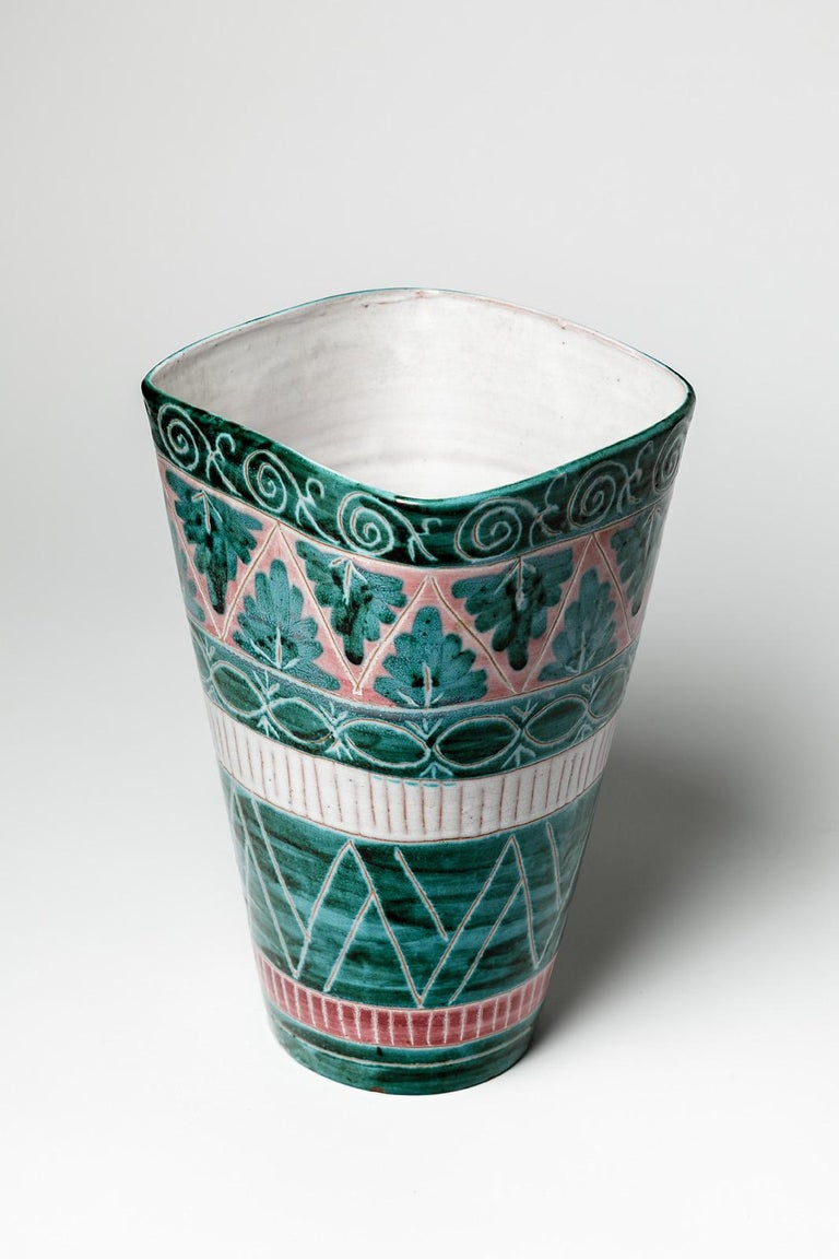 20th Century Green and White Mid-Century Design Ceramic Vase by Jean Derval & Picault 1950 For Sale