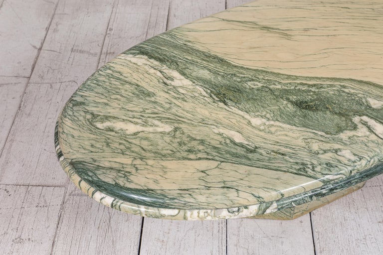 Green and White Oval Marble Cocktail Table 5