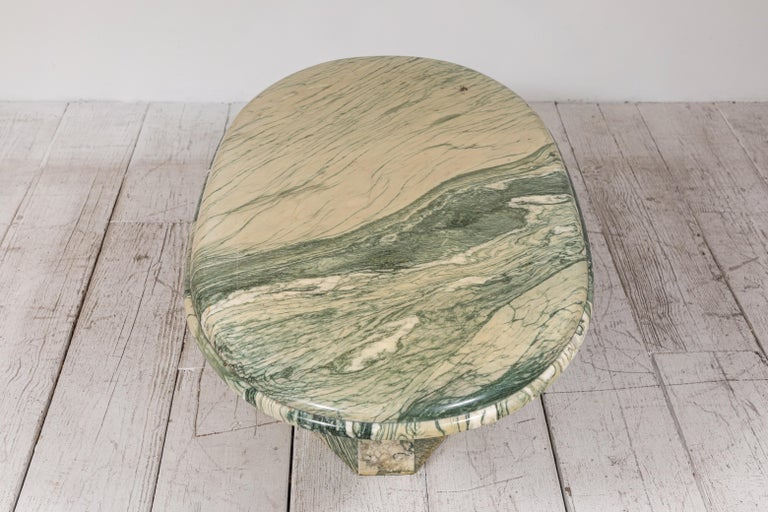 Green and White Oval Marble Cocktail Table 7