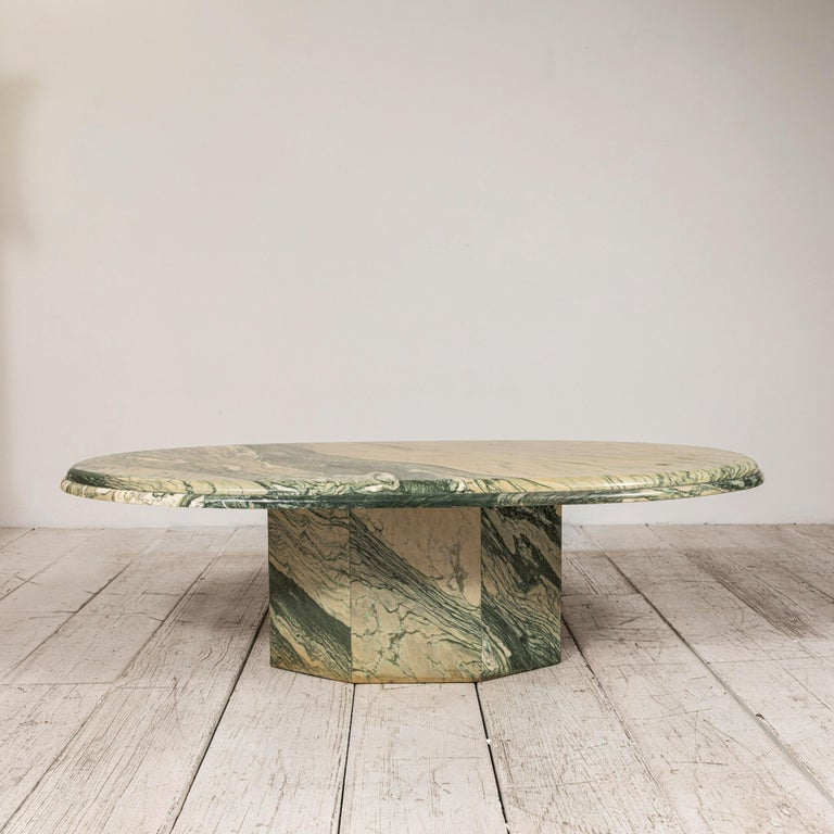 North American Green and White Oval Marble Cocktail Table
