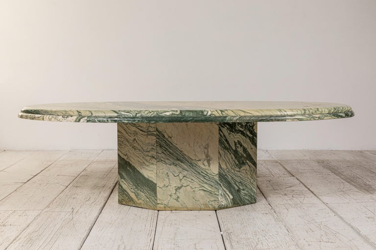 Mid-20th Century Green and White Oval Marble Cocktail Table