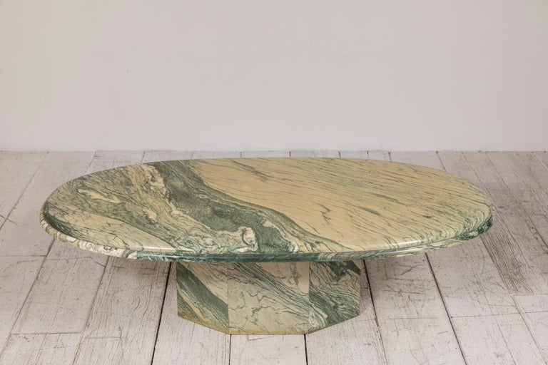 Green and White Oval Marble Cocktail Table 1