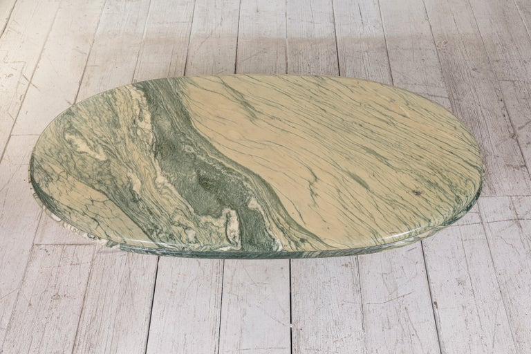 Green and White Oval Marble Cocktail Table 2