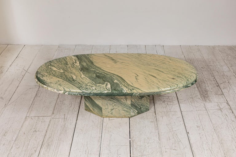 Green and White Oval Marble Cocktail Table 4