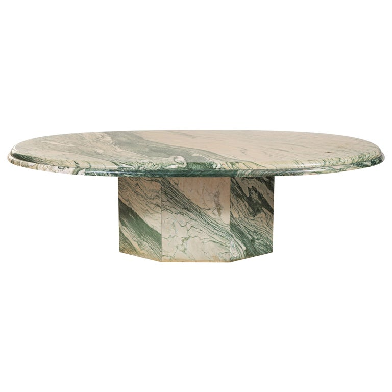 Green and White Oval Marble Cocktail Table